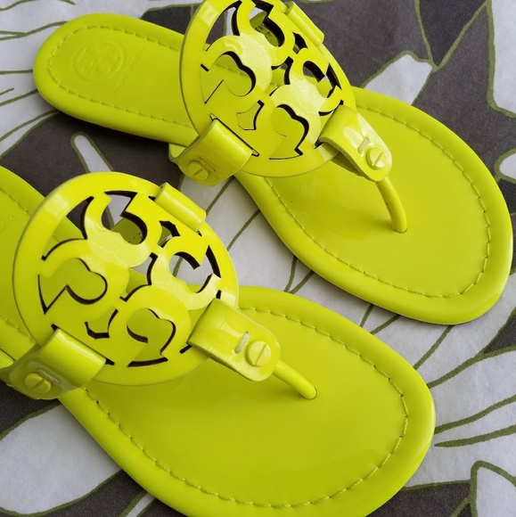b7e8a1a05 Tory Burch Miller Sandals Flip Flops Neon Yellow